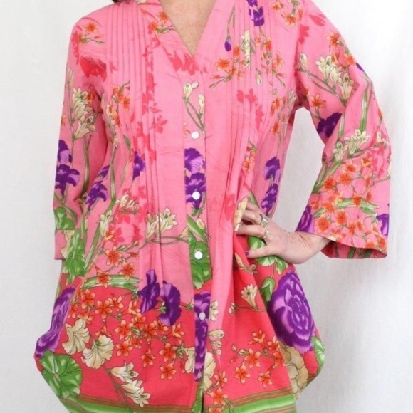 3fa9fa04ab6 Soft Surroundings Tops | Pink Button Down Floral Pintuck Tunic ...